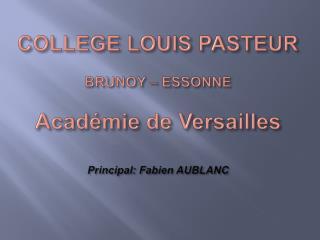 COLLEGE LOUIS PASTEUR  BRUNOY   ESSONNE  Acad mie de Versailles  Principal: Fabien AUBLANC
