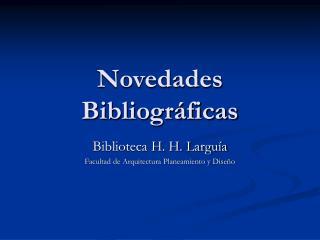 Novedades Bibliogr ficas