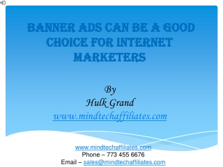 BANNER ADS can be a good choice for INTERNET  Marketers