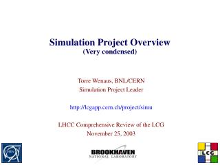 Simulation Project Overview Very condensed