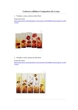 Colores cálidos Conjuntos de Lona -- Artisoo