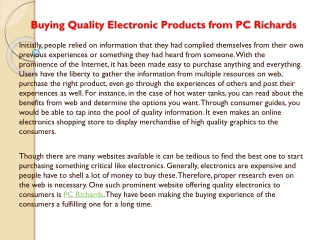 Buying Quality Electronic Products from PC Richards