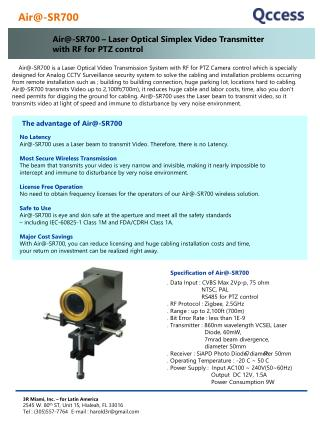 Air-SR700   Laser Optical Simplex Video Transmitter  with RF for PTZ control