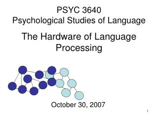 PSYC 3640 Psychological Studies of Language  The Hardware of Language Processing