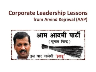 Corporate Leadership Lessons from Arvind Kejriwal (AAP)