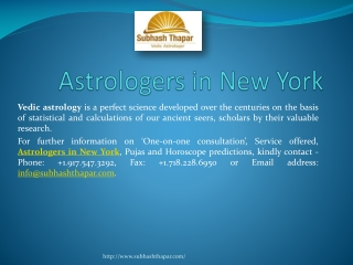 Best Astrology Services in NewYork by Mr. Subhas Thapar