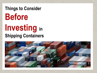 Shipping Container Investment � Get Guaranteed ROI