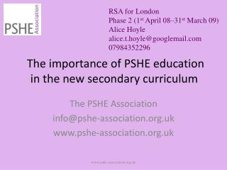 The importance of PSHE education in the new secondary curriculum