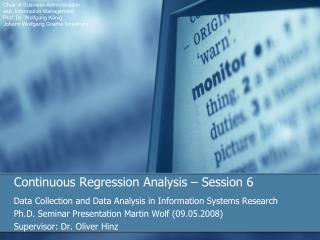 Continuous Regression Analysis   Session 6