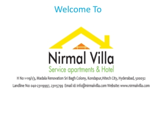 Service Apartments in Hitech City, Madhapur, Kondapur, Gachi