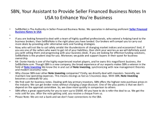 SBN, Your Assistant to Provide Seller Financed Business Note