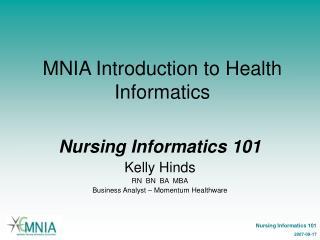 MNIA Introduction to Health Informatics