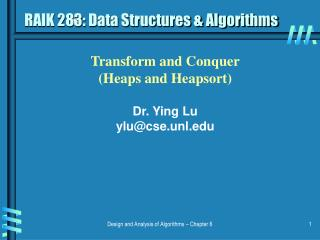 RAIK 283: Data Structures  Algorithms