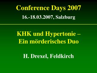 Conference Days 2007