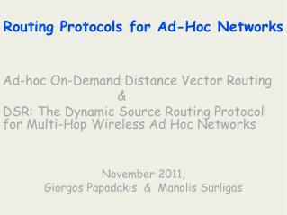 Routing Protocols for Ad-Hoc Networks