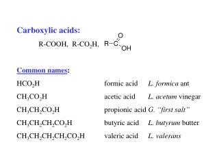 Carboxylic acids:  R-COOH,  R-CO2H,  Common names: HCO2H   formic acid L. formica ant CH3CO2H   acetic acid L. acetum vi