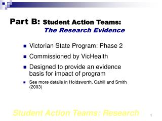 Part B: Student Action Teams:  The Research Evidence