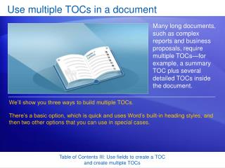 Use multiple TOCs in a document