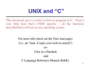 UNIX and  C