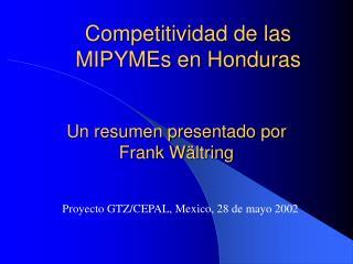 Competitividad de las MIPYMEs en Honduras