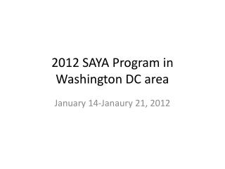 2012 SAYA Program in Washington DC area