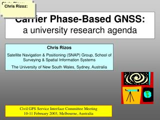 Carrier Phase-Based GNSS: a university research agenda