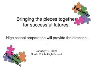 Bringing the pieces together for successful futures.   High school preparation will provide the direction.   January 15,