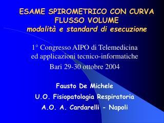 ESAME SPIROMETRICO CON CURVA FLUSSO VOLUME modalit  e standard di esecuzione