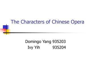 the characters of chinese opera