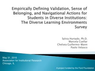 Empirically Defining Validation, Sense of Belonging, and Navigational Actions for Students in Diverse Institutions:  The