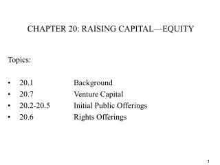 CHAPTER 20: RAISING CAPITAL EQUITY