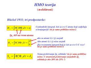 HMO teorija p-elektroni
