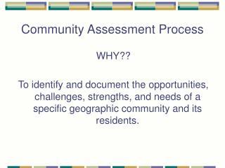 Community Assessment Process