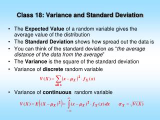 Class 18: Variance and Standard Deviation