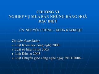 CHUONG VI NGHIP V MUA B N NHNG H NG HO   C BIT