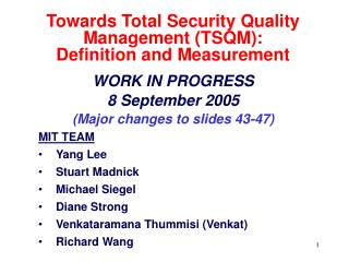 Towards Total Security Quality Management TSQM:  Definition and Measurement