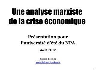Une analyse marxiste  de la crise  conomique