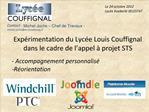 Exp rimentation du Lyc e Louis Couffignal dans le cadre de l appel   projet STS   - Accompagnement personnalis  R orient