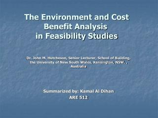 The Environment and Cost Benefit Analysis  in Feasibility Studies