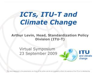 ICTs, ITU-T and Climate Change