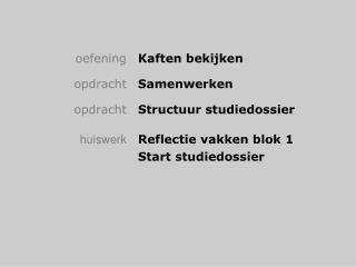Oefening Kaften bekijken    opdracht Samenwerken   opdracht Structuur studiedossier   huiswerk Reflectie vakken blok 1