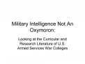 military intelligence not an oxymoron: