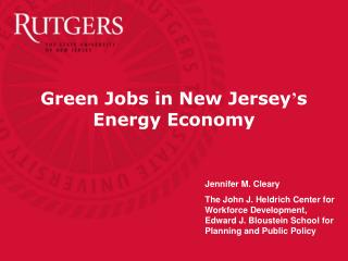 Green Jobs in New Jersey s Energy Economy
