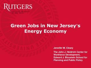 Green Jobs in New Jersey s Energy Economy