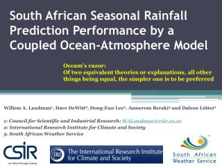 South African Seasonal Rainfall Prediction Performance by a Coupled Ocean-Atmosphere Model