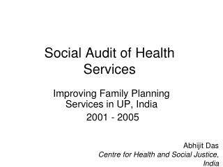 Social Audit of Health Services