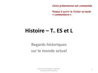 Histoire   Tles ES et L