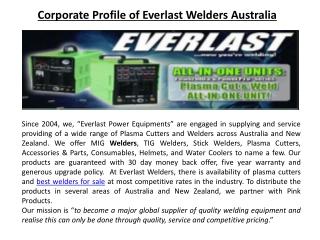 Corporate Profile of Everlast Welders Australia