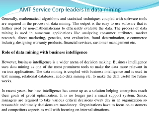AMT Service Corp leaders in data mining