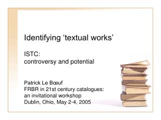 Identifying  textual works